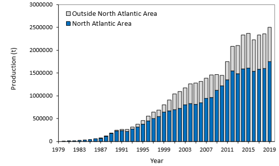 Worldwide production of farmed Atlantic salmon, 1980 to 2019.